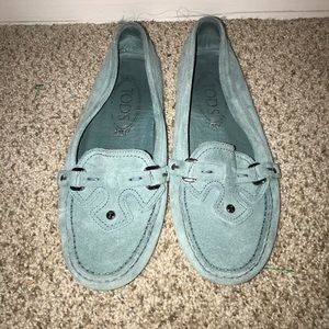 Light Blue Suede Tods loafers gently used